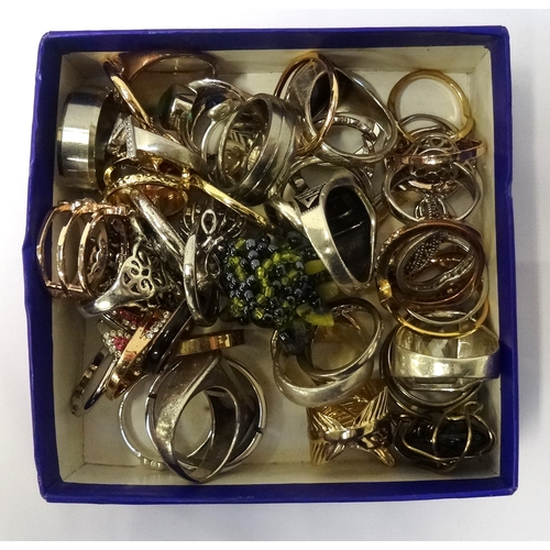 96 - SELECTION OF SILVER AND OTHER RINGS including mother of pearl and stone set examples, 1 box...