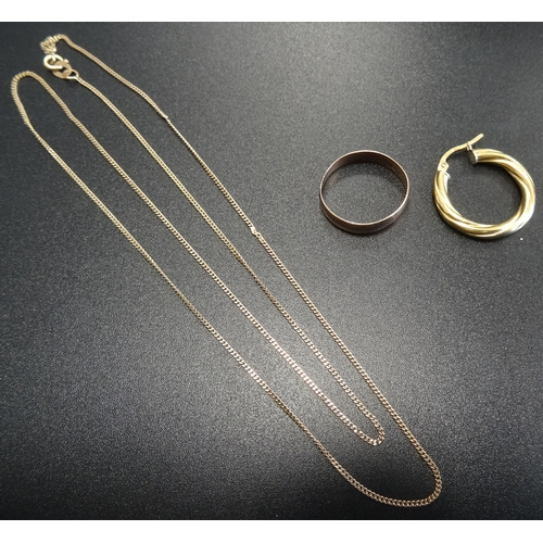 98 - SMALL SELECTION OF GOLD JEWELLERY comprising a nine carat gold wedding band, ring size L-M and a nin...