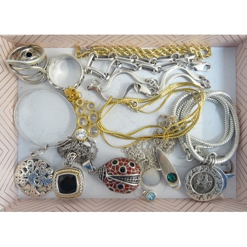 105 - SELECTION OF SILVER JEWELLERY including various pendants and chains, rings and bracelets, 1 box...