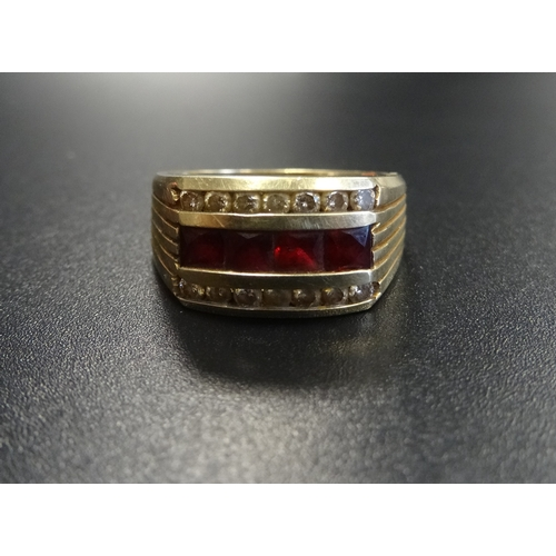 116 - RUBY AND DIAMOND DRESS RING the square cut rubies with a row of diamonds above and below, in fourtee...