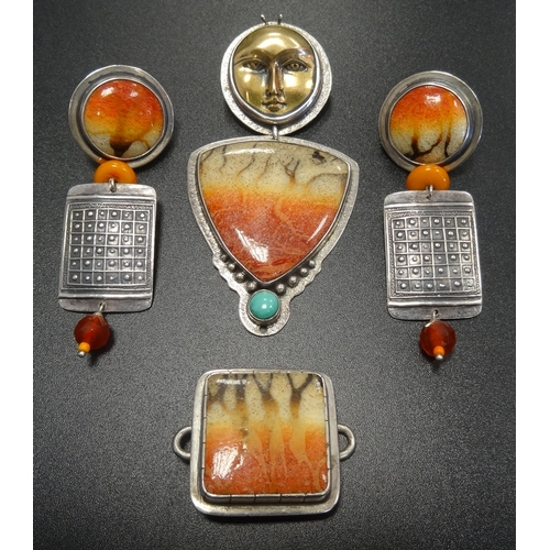 136 - SELECTION OF TABRA FLAME CORAL SET SILVER JEWELLERY  comprising a pendant, a pair of earrings and a ...