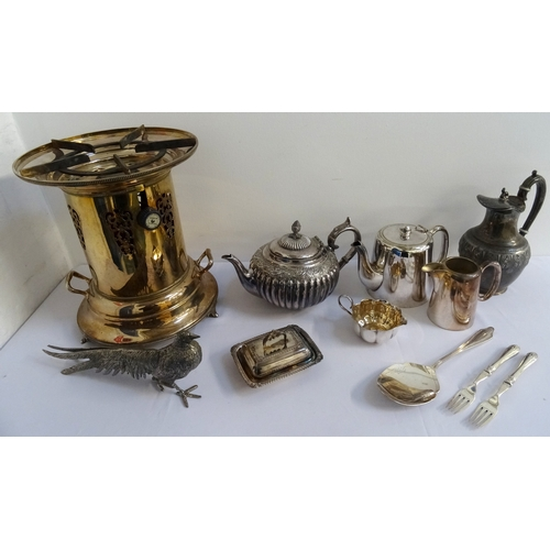 157 - LARGE SELECTION OF SILVER PLATED WARES including a pair of decorative table pheasants, a lidded serv...