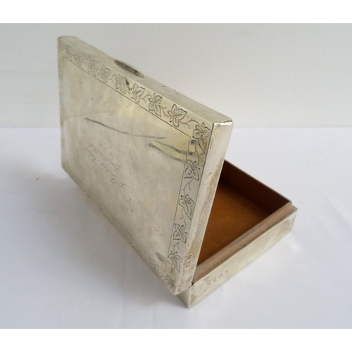 163 - SILVER CIGARETTE BOX the hinged cover with engraved dedication and leaf decorated border, hallmarks ...