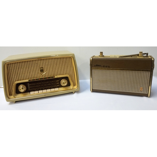295 - VINTAGE GRUNDIG RADIO Tupe 97 WEI, with three wavebands, in a beige hard plastic case, together with...