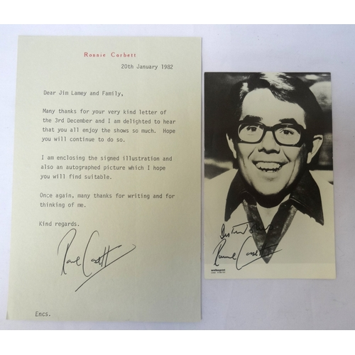 305 - RONNIE CORBETT SIGNED BLACK AND WHITE PHOTOGRAPH  14cm x 9cm, together with a typed signed letter on...