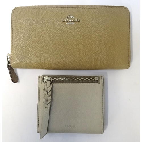 313 - NEW AND UNUSED COACH LEATHER WALLET mushroom coloured and with original protective bag; together wit...