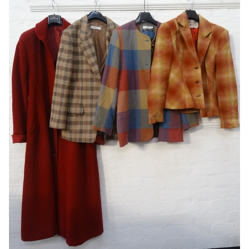 317 - SELECTION OF LADIES DESIGNER CLOTHING comprising a MaxMara 100% woollen long red coat (size 14); a M...