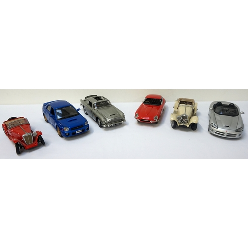 322 - SELECTION OF DIE CAST VEHICLES including James Bond's Aston Martin DB 5, Jaguar E Type and SS 100, D...