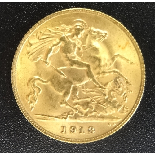 334 - GEORGE V GOLD HALF SOVEREIGN COIN dated 1913...