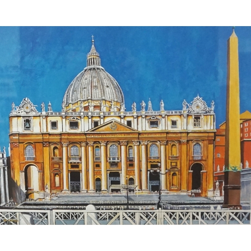 353 - ED O'FARRELL St. Peter's Basilica, Rome, artist proof, signed, inscribed and dated Dec '04, 33cm x 4...