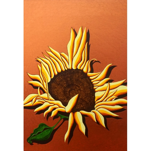 356 - ED O'FARRELL Sunflower (Copper), acrylic on canvas, signed and titled to verso, 70cm x 49.5cm - RE-O...