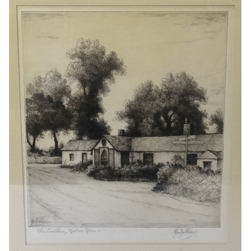 361 - JOHN FULLWOOD (British, 1854-1931)  'The Smithy, Gretna Green', etching, signed, 22.5cm x 18.5cm - R...