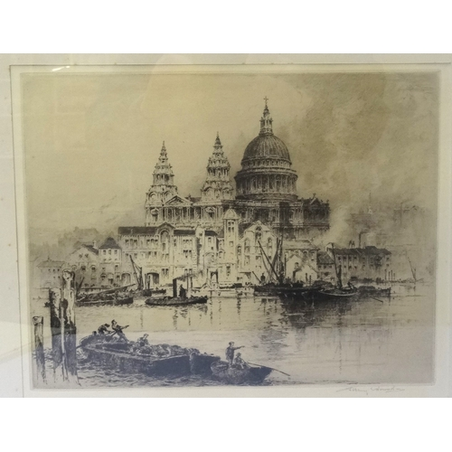 362 - ALBANY E HOWARTH (English, 1872-1936)  St.Paul's Cathedral with vessels on River Thames in foregroun...