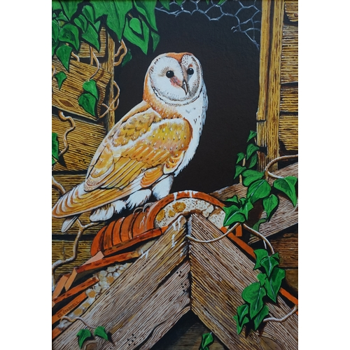 363 - ED O'FARRELL  Barn owl, acrylic on board, signed, also signed and dated 2006 to verso, 39cm x 29cm...