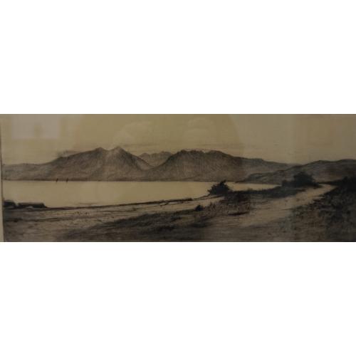 366 - TWO SCOTTISH ETCHINGS  Mathew Henderson, Coastal landscape, signed, 14cm x 34cm, and Robert Houston,...