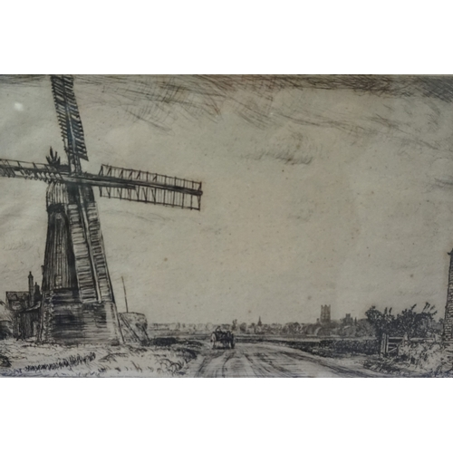 367 - HENRY JAMES STUART BROWN (Scottish, 1871-1941) ''View in Cambridgeshire'', etching, signed, 19cm x 2...