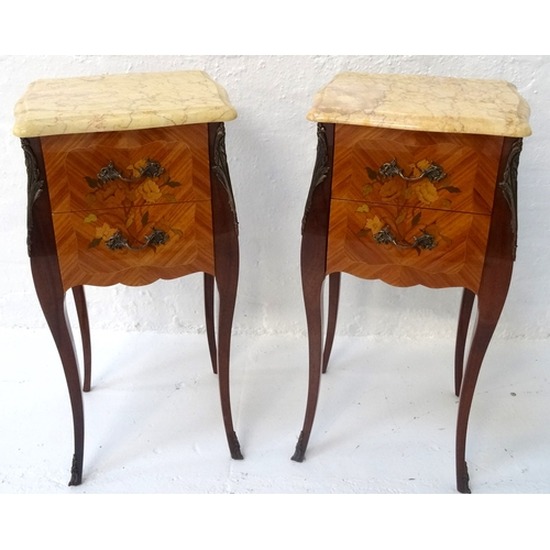 399 - PAIR OF FRENCH LOUIS XVI STYLE KINGWOOD BEDSIDE TABLES with shaped marble tops above two drawers wit...