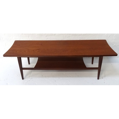 400 - RETRO 1960's TEAK COFFEE TABLE with undertier and raised on tapering legs, 121cm long x 40.5cm wide...