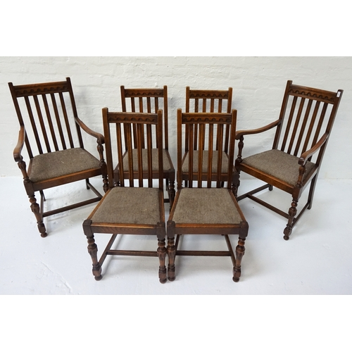 409 - SET OF SIX OAK DINING CHAIRS  early 20th century, including two carvers with outswept arms, all with...