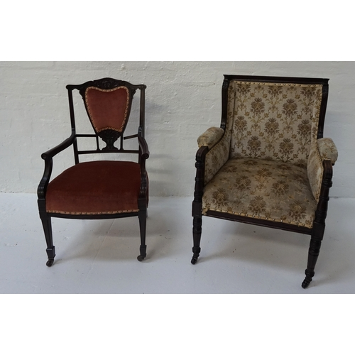 413 - EDWARDIAN MAHOGANY LIBRARY ARMCHAIR  the moulded toprail above a padded back and sides with decorati...
