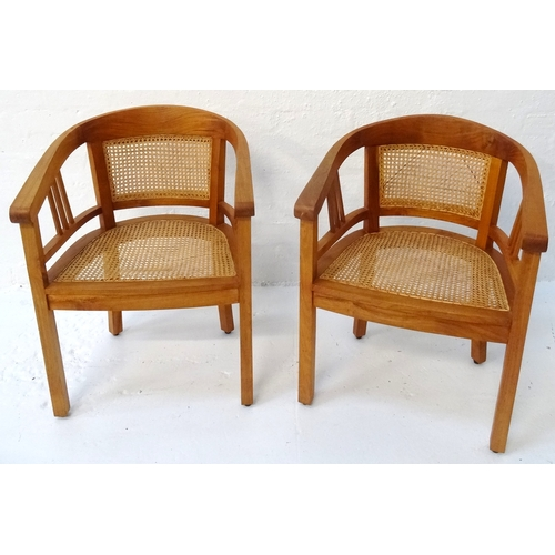 429 - PAIR OF ELM ARM CHAIRS with hoop caned backs above caned seats, standing on plain supports...
