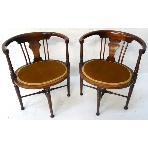 430 - PAIR OF EDWARDIAN MAHOGANY PARLOUR CHAIRS with hoop backs above a shaped splat with stuffover seats ...