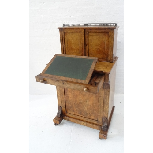451 - LATE VICTORIAN BURR WALNUT AND INLAID WRITING DESK with a three quarter pierced gallery top on an in...