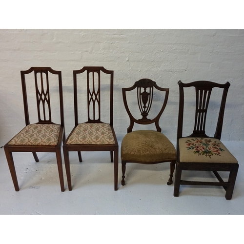 453 - PAIR OF EDWARDIAN SIDE CHAIRS with a shaped top rail above a pierced central splat with a stuffover ...