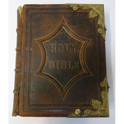300 - VICTORIAN FAMILY BIBLE the tooled leather cover with brass corners and closures, with a dedication p...