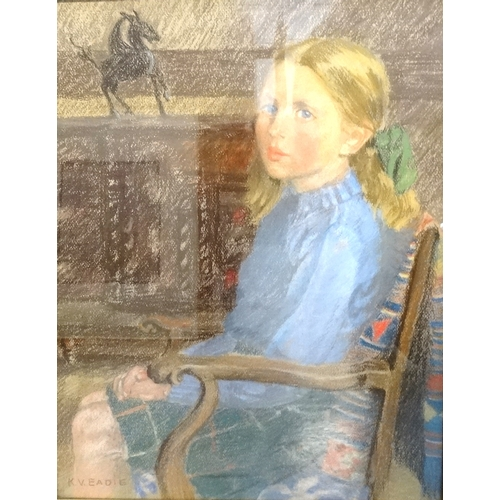 371 - K. V. EADIE Portrait of a young seated girl, pastel, signed, 45cm x 35.5cm - RE-OFFERED IN TIMED AUC...