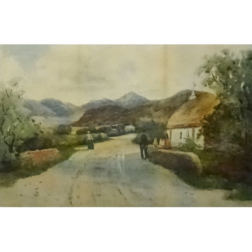 372 - W. T. WATSON Highland village with figures by a cottage, watercolour, signed, 33.5cm x 51cm - RE-OFF...