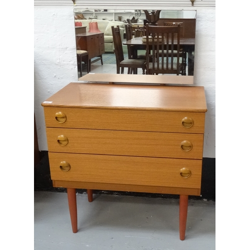 385 - SCHRIEBER TEAK DRESSING CHEST the raised mirror back above three drawers with circular shaped handle...