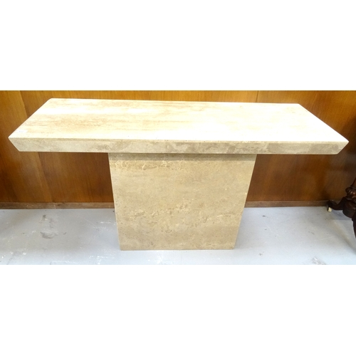 412 - ACID ETCHED MARBLE HALL TABLE with an oblong moulded edge top standing on a rectangular base, 135cm ...