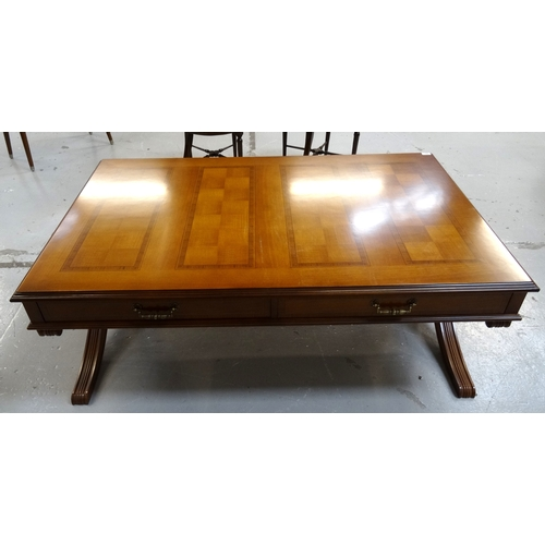 402 - HURTADO OF SPAIN MAHOGANY OCCASIONAL TABLE with an oblong moulded top set with four oblong checker b...