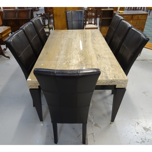 424 - ACID ETCHED MARBLE DINING TABLE AND LEATHER CHAIRS the table with an oblong top and shaped frieze, s...