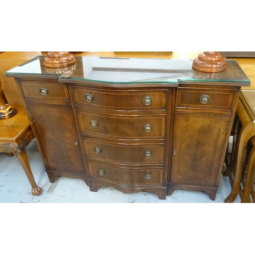 442 - REGENCY STYLE MAHOGANY AND CROSSBANDED BREAKFRONT SIDEBOARD the moulded top above four central gradu...
