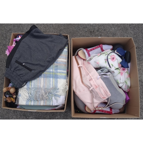 11 - TWO BOXES OF NEW ITEMS including: ladies' and gents' clothing; soft toys; handbags; shoes; neck pill...