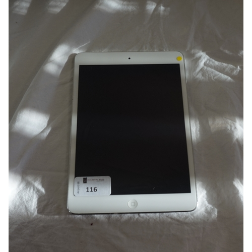 116 - APPLE IPAD MIN 2 (WIFI) - MODEL A1489 serial number: DQTNRGPCFCM8.  i-cloud protected.  Note: It is ...
