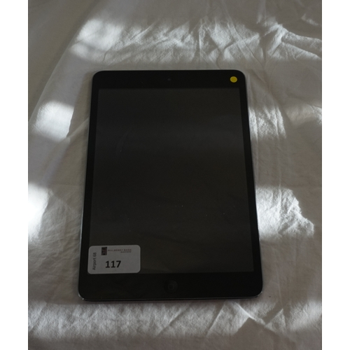 117 - APPLE IPAD MINI (WIFI) - MODEL A1432 serial number: DMPNLNL68NFP84.  i-cloud protected.  Note: It is...