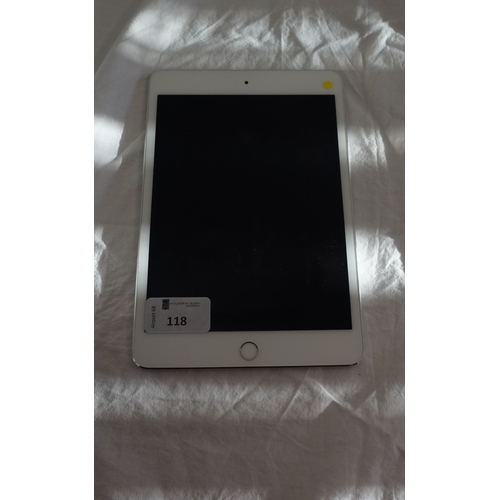 118 - APPLE IPAD MINI 4 (WIFI) - MODEL A1538 serial number: F9FVX5NLGHKK.  i-cloud protected.  Note: It is...