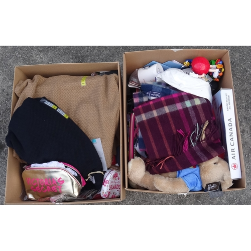12 - TWO BOXES OF NEW ITEMS including: ladies' and gents' clothing; Thomas Pink Gents' Shirt; Waterford c...