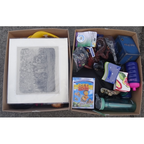 13 - TWO BOXES OF MISCELLANEOUS ITEMS including: lithograph print; posters; ceramics; water bottles; dvds...