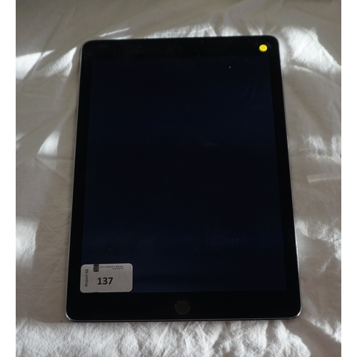 137 - APPLE IPAD AIR 2 (WIFI) - MODEL A1566 serial number: DMPNT5HAG5VW.  i-cloud protected.  Note: It is ...