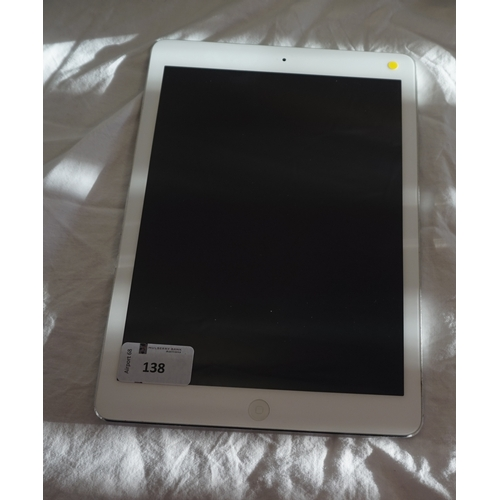 138 - APPLE IPAD AIR (WIFI) - MODEL A1474 serial number: DMQQLHQ5KK14.  i-cloud protected.  Note: It is th...