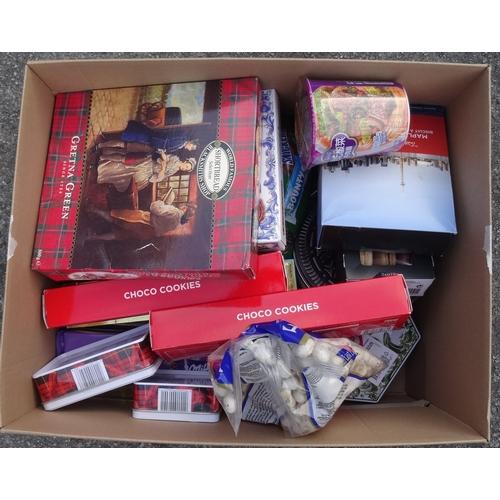 17 - ONE BOX OF CONSUMABLE ITEMS including: SHORTBREAD; OREOs; TRUFFLED CHOCOLATES; TOBLERONE; BAD TORO B...