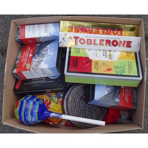 18 - ONE BOX OF CONSUMABLE ITEMS including: CHUPPA CHUPS; OREOs; SHORTBREAD; TOBLERONE; MAPLE CREAM COOKI...