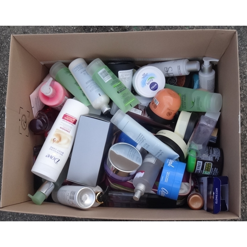 19 - ONE BOX OF USED AND NEW TOILETRY ITEMS including: NIVEA; DOVE; ASTRAL; HUGO BOSS; SIMPLE; SOAP & GLO...