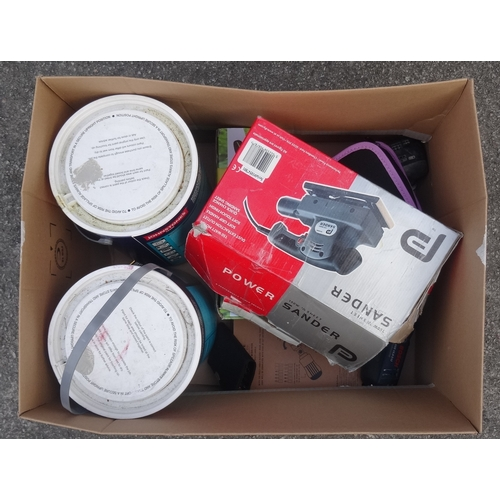 21 - ONE BOX OF TOOLS AND DIY ITEMS including: 2 x 5 Litre Johnstones Acrylic Eggshell paint; Florabest G...