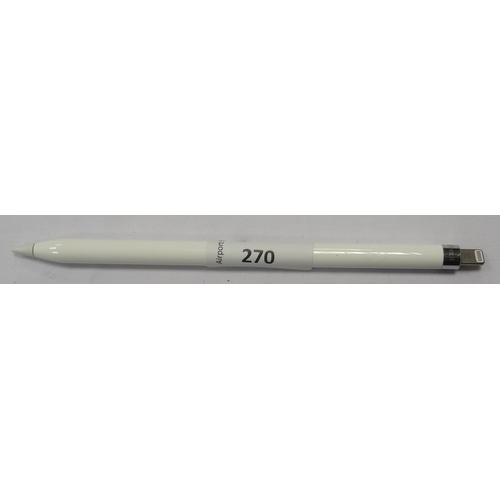 270 - APPLE PENCIL - MODEL A1603  serial number: FQCVV81DGW1J.  End cap missing....