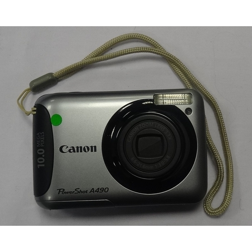 282 - CANON POWERSHOT A490 DIGITAL COMPACT CAMERA 10.0MP.  3.3 x Optical Zoom.  With case.
